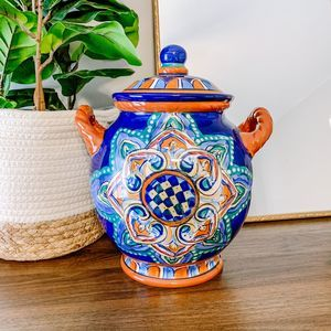 Speranza Hand Painted Large Blue Orange Urn Vase